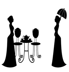 Tea party vintage silhouette vector