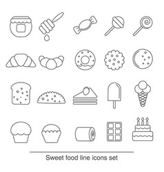 dessert and sweet icon set dessert and sweet icon vector image