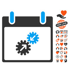 Gears integration calendar day icon with dating vector
