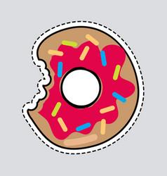 bitten donut logo patch cut out doughnut sticker vector image