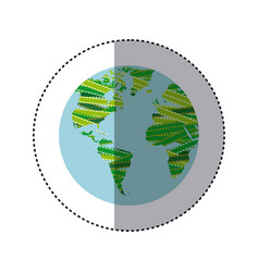 sticker shading colorful globe earth continents vector image