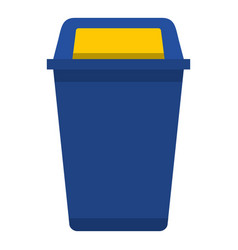 Blue plastic wastebasket icon isolated vector