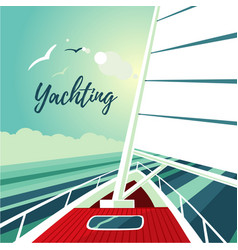 Boat sailing on the ocean journey on ship water vector