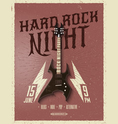hard rock night party flyer vector image