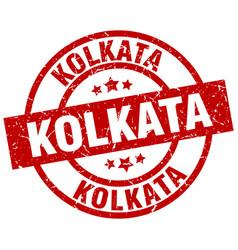 Kolkata red round grunge stamp vector