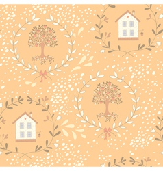 Orange tree seamless pattern vector