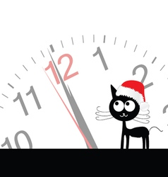 Funny and sweet cat with clock vector