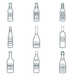 Dark outline alcohol bottles icons set vector
