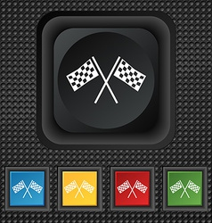 Race flag finish icon sign symbol squared vector
