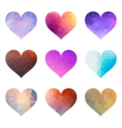 Set of polygon hearts vector