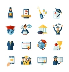 School graduation flat icons set vector