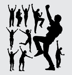 Happy people male and female silhouettes vector