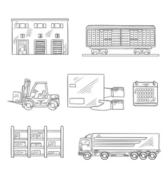 Delivery and storage service sketch icons vector