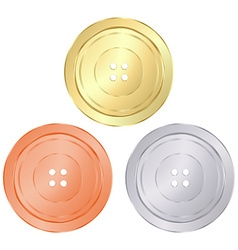 Classic round sewing buttons of gold silver bronze vector
