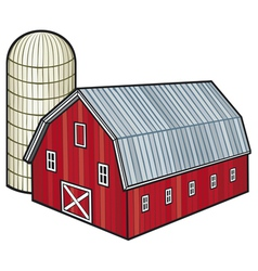 barn and silo vector image