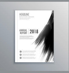 Business magazine brochure with black paint stroke vector
