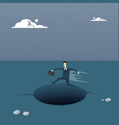 Business man on island in sea water need help vector