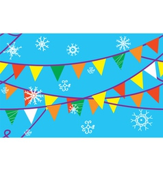 Christmas seamless border with flags vector image