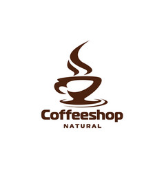 Coffee hot steam cup cafe or shop icon vector