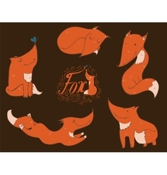 Colorful set of hand drawn cute red foxes in vector image vector image
