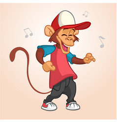 Cool monkey rapper character in modern clothes vector