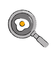Delicious fried egg inside skillet pan vector