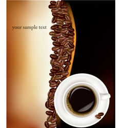 desing with cup of coffee and beans on black vector image