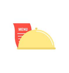 dish icon with menu sheet vector image