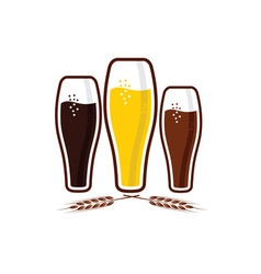 glasses with beer vector image