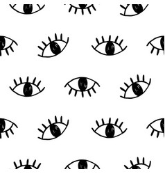 Hand drawn open eyes doodles seamless pattern vector