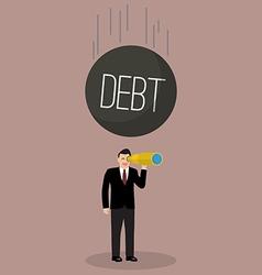 Heavy debt falling to careless businessman vector image vector image