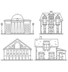 Houses line icon set vector image vector image