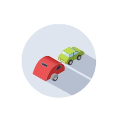 isometric of Camping trailer with car vector image vector image