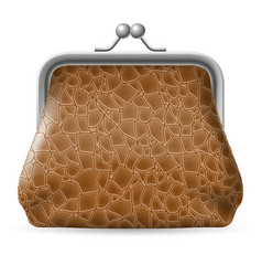 leather purse on white background for design vector image