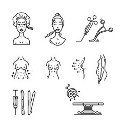 Line icons plastic surgery aesthetic medicine vector