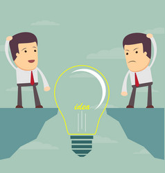 Man look at a bulb and do not know what to do vector
