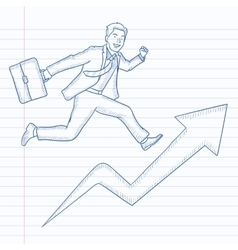 Man running on arrow going upwards vector