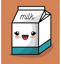 milk box kawaii happy icon design vector image