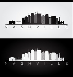 nashville usa skyline and landmarks silhouette vector image