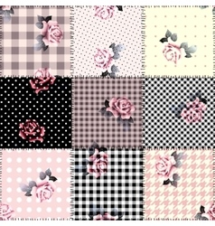 Patchwork with roses vector