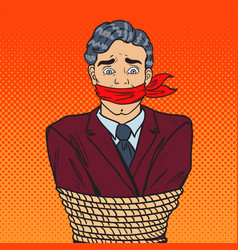 Pop art stressed businessman tied up with rope vector