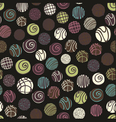 seamless pattern with chocolate sweets on a black vector image vector image