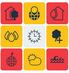 Set of 9 eco-friendly icons includes insert woods vector