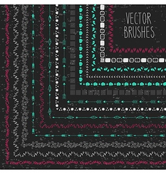 Set of hand drawn brushes with corner tiles in a vector