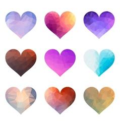 Set of Polygon Hearts vector image vector image