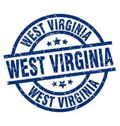 West virginia blue round grunge stamp vector