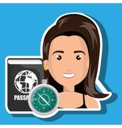 Woman password id travel vector