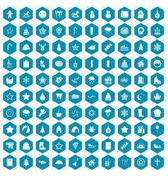 100 christmas icons sapphirine violet vector image vector image