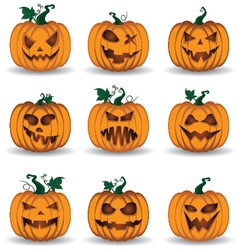 Halloween pumpkin set isolated on white background vector