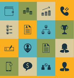 Set of 16 human resources icons includes cellular vector